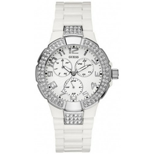 Guess Prism Women's Quartz Watch with White Dial Analogue Display and White Plastic or PU Strap W13564L1