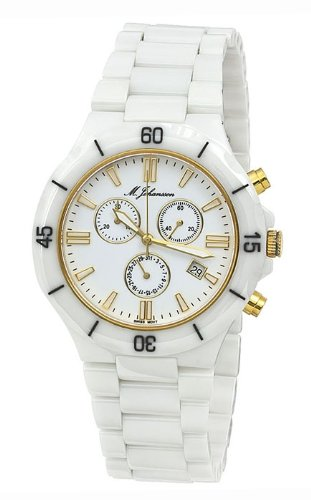 M. Johansson MaconasWG Men's Quartz White Ceramic Chronograph ISA SWISS Cal.8172. 202 Wrist Watch