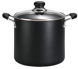 T-fal A92279 Specialty Total Nonstick Dishwasher Safe Oven Safe Stockpot Cookware, 8-Quart, Black