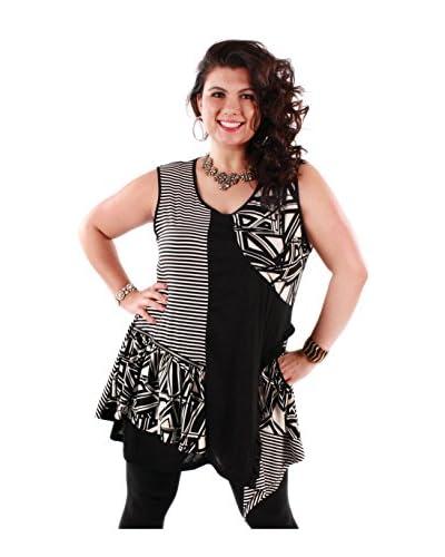 Lily by Firmiana Plus Women's Multi Print Zipper Accent Tunic