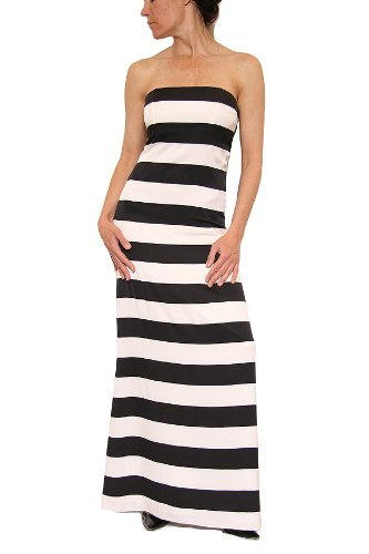 Alice + Olivia Chandra Strapless Maxi Dress in Black/White Stripe Size M