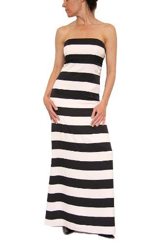 Alice + Olivia Chandra Strapless Maxi Dress in Black/White Stripe Size M