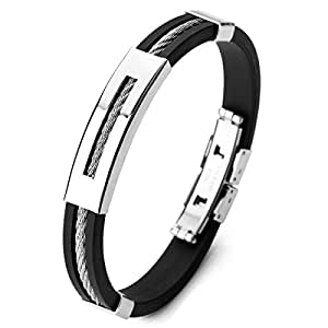 MunkiMix Acier Inoxydable Caoutchouc Bracelet Bracelet Menotte Argent Noir Corde Corde Cable Poli Homme