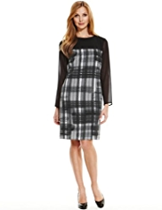 M&S Collection Panelled Yoke Sketchy Checked Dress