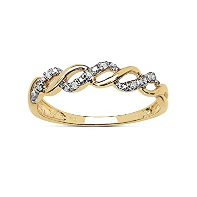 The Diamond Ring Collection: Beautiful 9CT Gold 0.05CT Diamond 3 Row on the Twist Eternity Ring