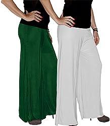 Xarans Sharara Stylish Looking Dark Green & White Palazzo