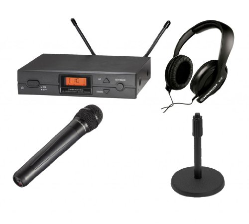 Audio Technica Atw-2120A Wireless Microphone Handheld Uhf System In Band I With Sennheiser Hd 202-Ii Headphones And On Stage Ms7201B Round Base Microphone Stand