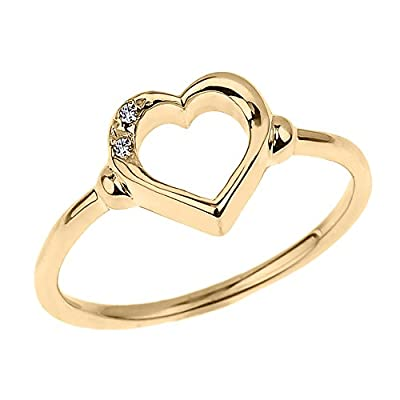 Fine 10k Yellow Gold Dainty Band 2-Stone Diamond Open Heart Ring