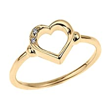 buy Fine 10K Yellow Gold Dainty Band 2-Stone Diamond Open Heart Ring (Size 7)