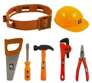 Child's Builders Plastic Fancy Dress Accessories Set - Belt, Hat, Tools