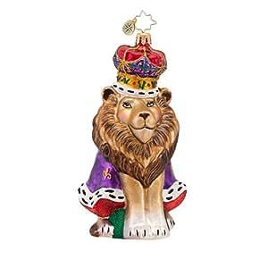 RADKO KING LEO Lion with Crown Christmas Glass Ornament