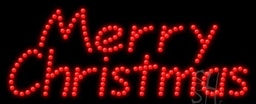 "Merry Christmas Animated Led Sign 11"" Tall X 27"" Wide X 1"" Deep"