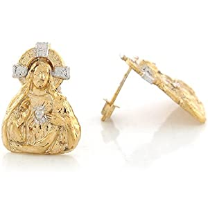 14k Two Tone Real 2.06cm x 1.46cm Gold Jesus Christ Religious Post Earrings