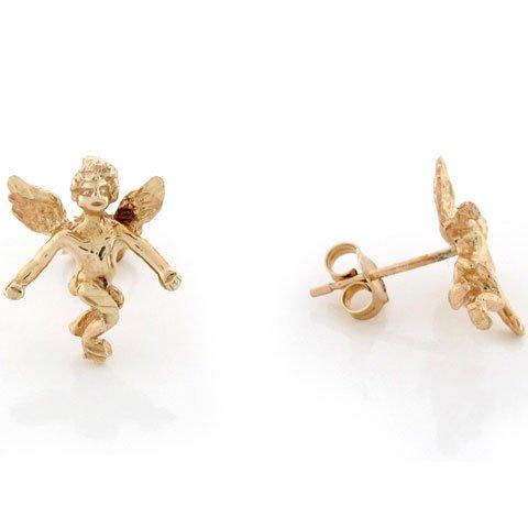 14k Yellow Gold Lovely Christian Religious angel 1.4cm Pin Earrings
