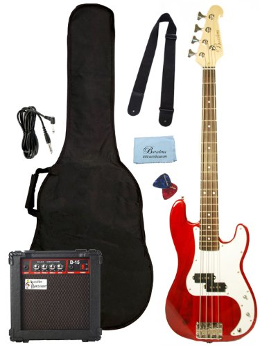Barcelona Beginner Series Bass Guitar Bundle with 10-Watt Amp, Gig Bag, Instrument Cable, Strap, Strings, Picks, and Polishing Cloth &#8211; Transparent Red