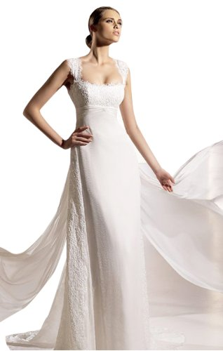 Sexy Sheath/Column Square Court Train Wedding Dress With Lace White