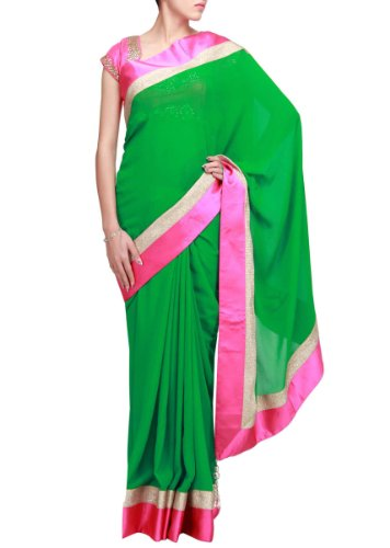 Kalki Fashions Women Green Saree Featuring With Contrast Border In Pink Satin Only On Kalki