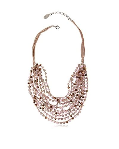 Saachi Pink Multi Bead Cluster Necklace