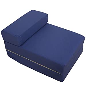 Navy blue foam fold out sleep over guest single z futon for Sofa bed amazon uk