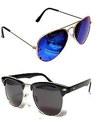 Shara UV Protected Aviator and Club master unisex sunglasses set of 2 combo pack ( Blue & Black lens)(SHA/SUNGLASSES/MERCLUBBK)
