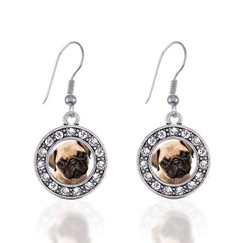 Pug Circle Charm Earrings French Hook Clear Crystal Rhinestones
