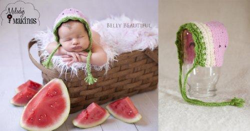 Watermelon Bonnet Crochet Pattern - 5 Sizes Included front-531638