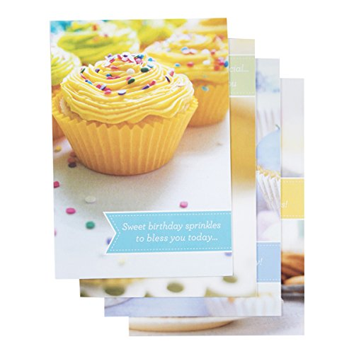 DaySpring Birthday Boxed Greeting Cards w Embossed Envelopes - Cupcakes, 12 Count (37117)