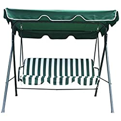 Water Resistant Swinging 3 Seater Garden Hammock Swing Seat Outdoor Bench Chair Patio Set by BTM
