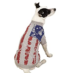 Zack & Zoey UM5603 08 11 America's Pup Flag Print Tee for Dogs, XX-Small, Gray
