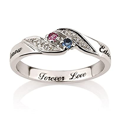 Couples Birthstone Promise Ring with Personalized Engraved