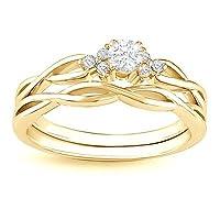 0.60 Carat Round Diamond Engagement Ring Bridal Set on 10k Yellow Gold