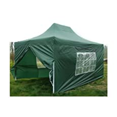 NEW WATERPROOF 3M X 4.5M POP UP TENT GAZEBO MARQUEE PARTY TENT CANOPY+ 4 SIDES (GREEN)