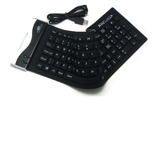 Generic Usb 2.0 104Keys Flexible Silicone Waterproof Pc Laptop Keyboard Color Black