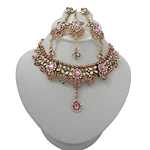 Indian Wedding Pink CZ Bridal Wedding Necklace Set Party Wear Gold ...