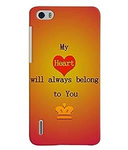 Fuson 3D Printed Love Designer back case cover for Huawei Honor 6 - D4527