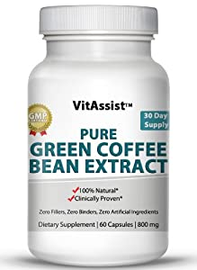 VitAssist Green Coffee Bean Extract, 1,600mg Daily Dose Ultra Diet Pills, Max 50% GCA, 800mg, 60 Advanced Formula Veggie Caps 30-Day Supply, Pure No Fillers As Recommended on Dr Oz Show, #1 Weight Loss Supplement Helps Burn Fat Faster, 100% Money Back Gua