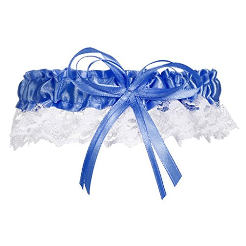 Victoria Lynn Wedding Garter Cobalt Blue Satin and White Lace with Bow Prom (2)