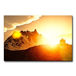 Modern Canvas Painting Wall Art The Picture For Home Decoration Beautiful Buddhist Shrine In The Mountains At Sunrise At Bhutan Landscape Jokul Print On Canvas Giclee Artwork For Wall Decor