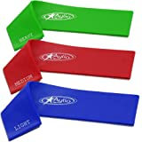 Aylio 3 Loop Fitness Bands Stretch Exercise Set for Legs (Light, Medium, Heavy Resistance)