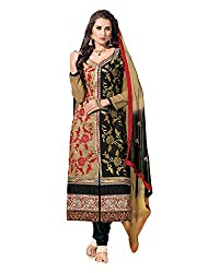 Maruti Suit Women's Kora Silk Suit Material (Mas9001, Black, Free Size)