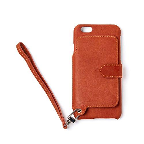 RAKUNI (ラクニ) iPhone 6/6s用 本革 背面ポケット 財布型 ストラップ付き レザーケース(スタンド機能)(iPhone6/6s, キャラメル, 茶)
