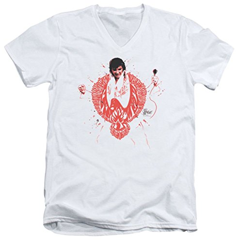 [V-Neck Slim Fit: Red Phoenix Elvis Presley] (Official Elvis Presley Microphone)