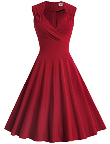 MUXXN Women's Classy V Neck Empire Waist Bridesmaid Tea Dress(L Burgundy)