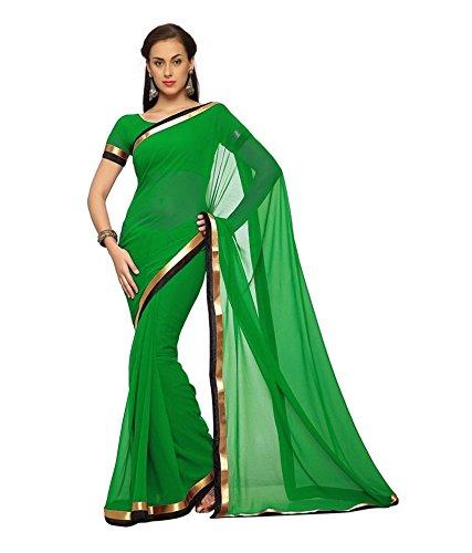 Klemy Klu Women's Faux Chiffon Designer Saree (KKCVI-S49-VBK10-3_green)