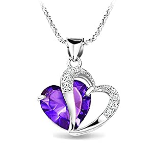 KATGI Fashion White Gold Plated Diamond Accent Amethyst Heart Shape Pendant Necklace