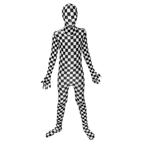 Kids Black and White Check Morphsuits Childs Fancy Dress Costume Medium 3