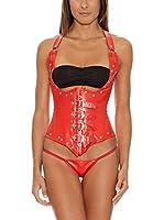 Intimax Conjunto Ropa Interior Corset + Tanga (Rojo)