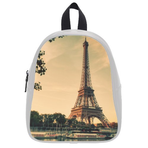 Fashion Style Paris Eiffel Tower Theme White Or Black Backpack Student Bag,Pu Leather