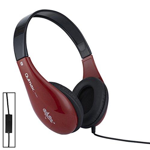 Qulmax ® Mediacom SmartPad 10.1 HD iPro111 / Mediacom SmartPad i10 3G Tablet Rot Dynamische HD Kopfhörer (HSQ01) mit Mikrofon und Fernbedienung