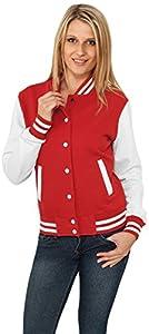 Urban Classics Damen Ladies 2-tone College Sweatjacket, Red/Wht, XS, TB218